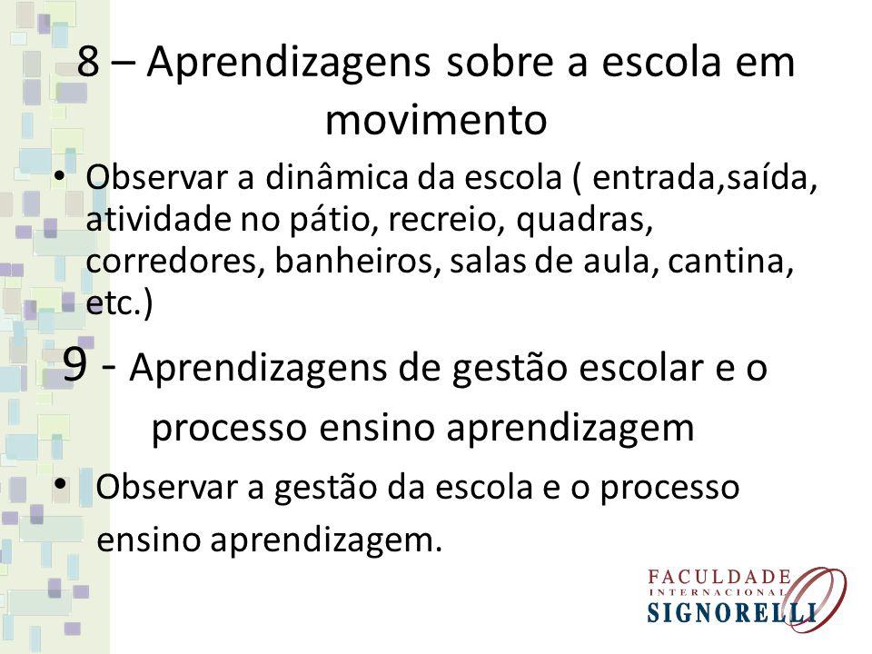 8 – Aprendizagens sobre a escola em movimento Observar a dinâmica da escola ( entrada,saída, atividade no pátio, recreio, quadras, corredores, banheir