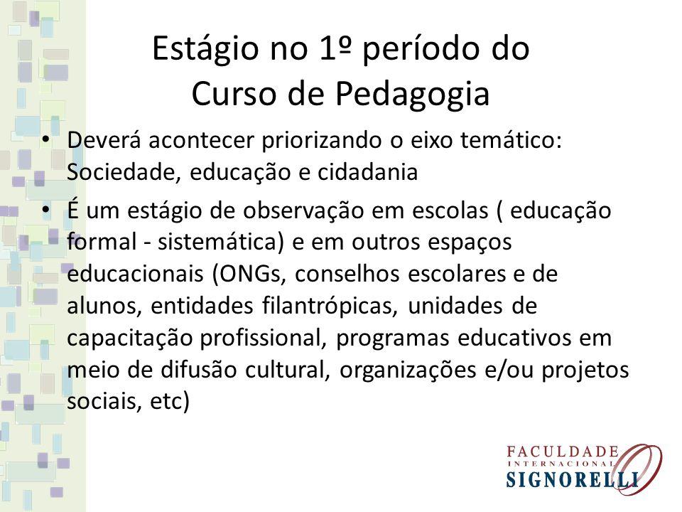 Estágio no 1º período do Curso de Pedagogia Deverá acontecer priorizando o eixo temático: Sociedade, educação e cidadania É um estágio de observação e