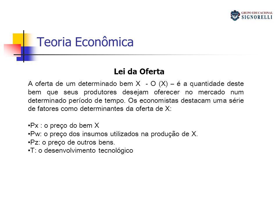 Teoria Econômica Lei da Oferta A oferta de um determinado bem X - O (X) – é a quantidade deste bem que seus produtores desejam oferecer no mercado num determinado período de tempo.