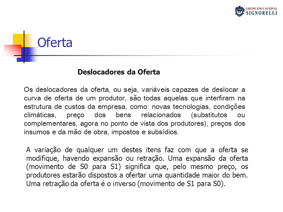 Oferta Deslocadores da Oferta Custo alternativo / Custo implícito Os deslocadores da oferta, ou seja, variáveis capazes de deslocar a curva de oferta