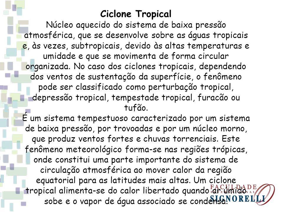 Ciclone Tropical Núcleo aquecido do sistema de baixa pressão atmosférica, que se desenvolve sobre as águas tropicais e, às vezes, subtropicais, devido