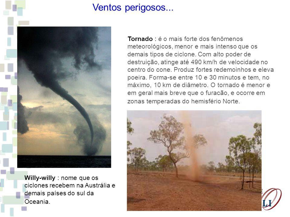 Tornado : é o mais forte dos fenômenos meteorológicos, menor e mais intenso que os demais tipos de ciclone. Com alto poder de destruição, atinge até 4