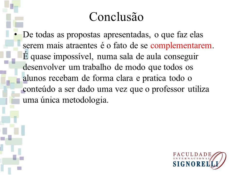 Conclusão De todas as propostas apresentadas, o que faz elas serem mais atraentes é o fato de se complementarem.