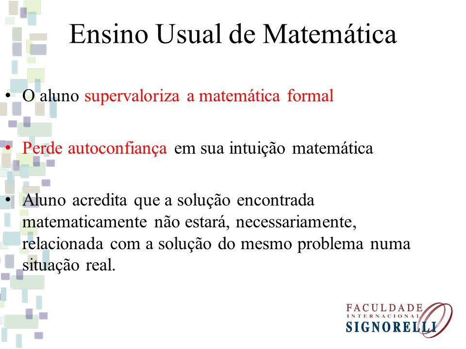 Ensino Usual de Matemática O aluno supervaloriza a matemática formal Perde autoconfiança em sua intuição matemática Aluno acredita que a solução encontrada matematicamente não estará, necessariamente, relacionada com a solução do mesmo problema numa situação real.