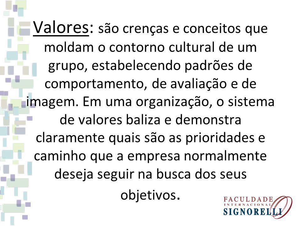 Valores: são crenças e conceitos que moldam o contorno cultural de um grupo, estabelecendo padrões de comportamento, de avaliação e de imagem. Em uma
