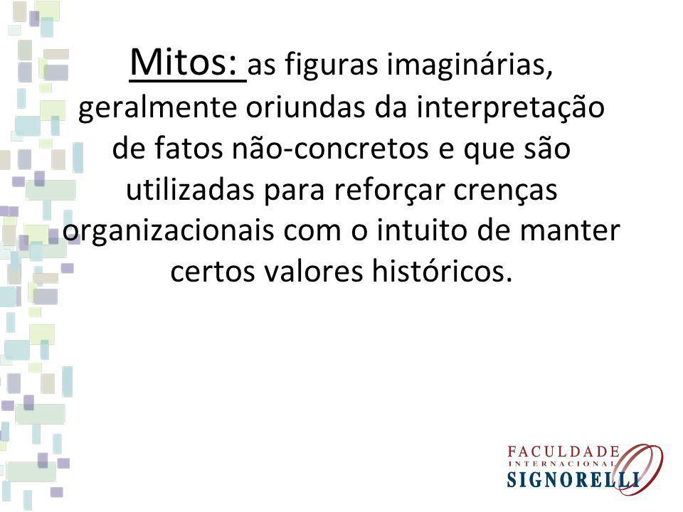 Mitos: as figuras imaginárias, geralmente oriundas da interpretação de fatos não-concretos e que são utilizadas para reforçar crenças organizacionais