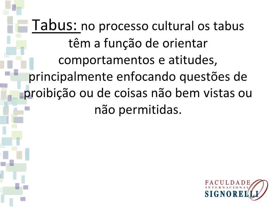 Tabus: no processo cultural os tabus têm a função de orientar comportamentos e atitudes, principalmente enfocando questões de proibição ou de coisas n