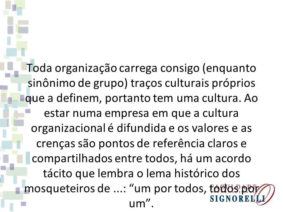 Toda organização carrega consigo (enquanto sinônimo de grupo) traços culturais próprios que a definem, portanto tem uma cultura. Ao estar numa empresa