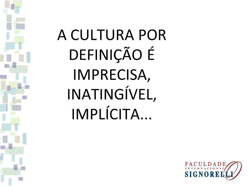 A CULTURA POR DEFINIÇÃO É IMPRECISA, INATINGÍVEL, IMPLÍCITA...