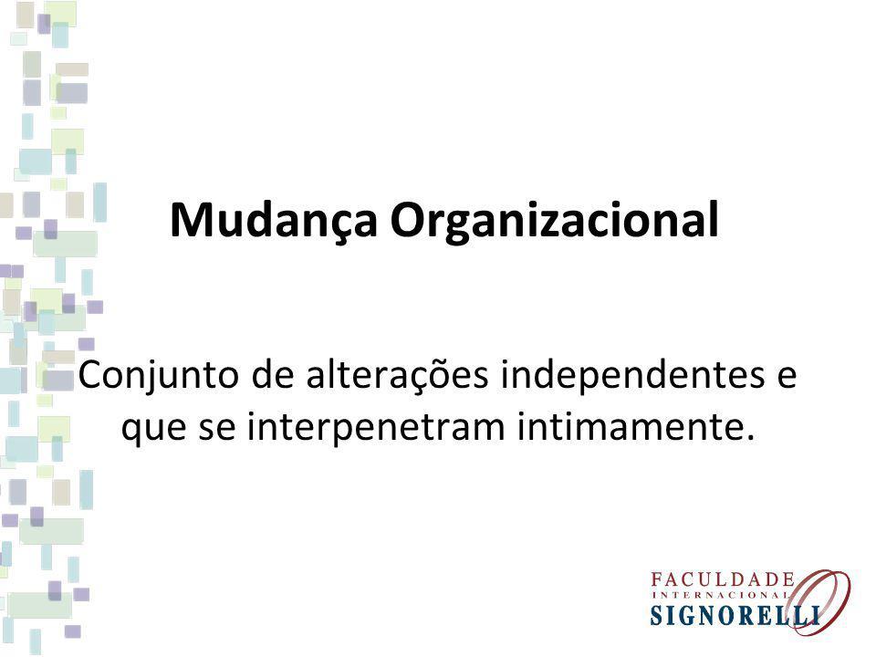 Mudança Organizacional Conjunto de alterações independentes e que se interpenetram intimamente.