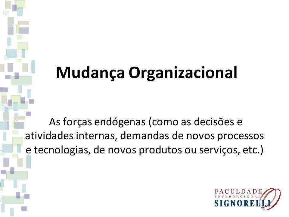 Mudança Organizacional As forças endógenas (como as decisões e atividades internas, demandas de novos processos e tecnologias, de novos produtos ou se
