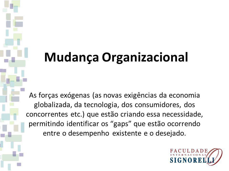 Mudança Organizacional As forças exógenas (as novas exigências da economia globalizada, da tecnologia, dos consumidores, dos concorrentes etc.) que es