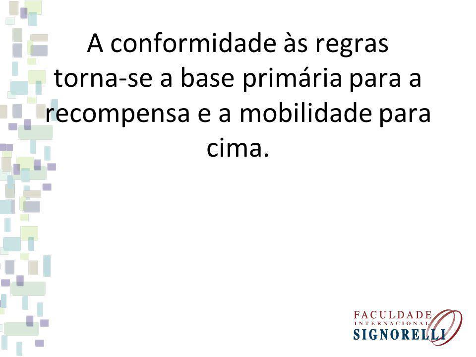A conformidade às regras torna-se a base primária para a recompensa e a mobilidade para cima.