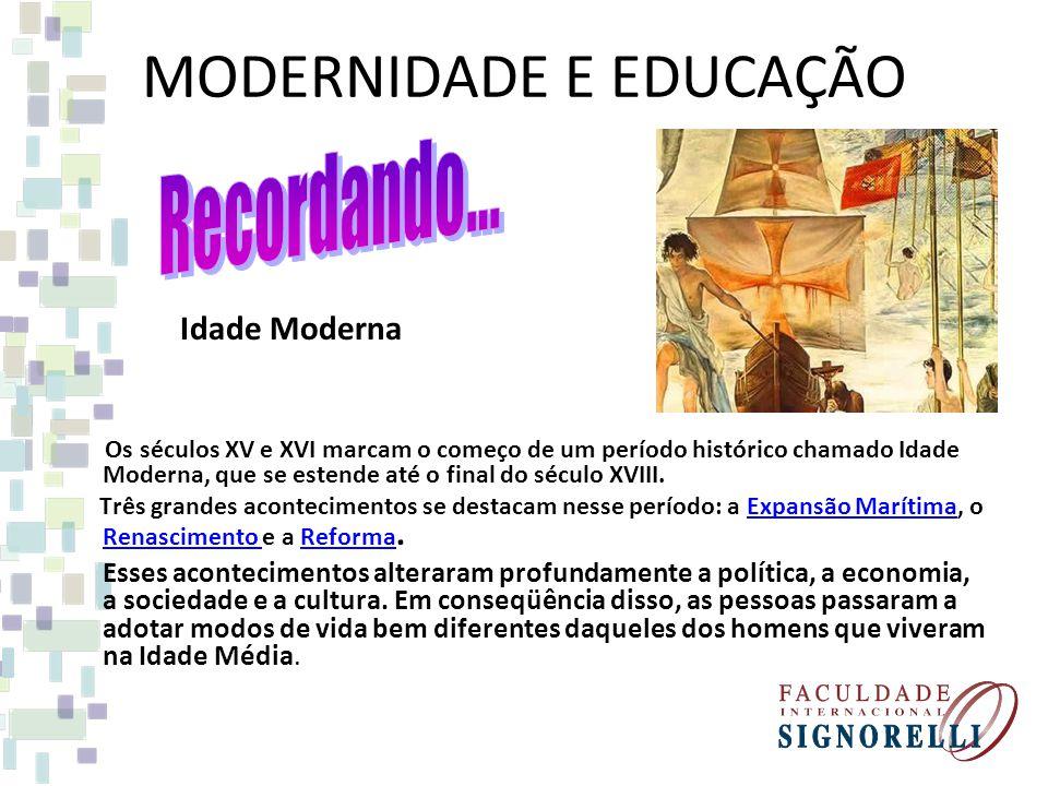 MODERNIDADE E EDUCAÇÃO Idade Moderna Os séculos XV e XVI marcam o começo de um período histórico chamado Idade Moderna, que se estende até o final do