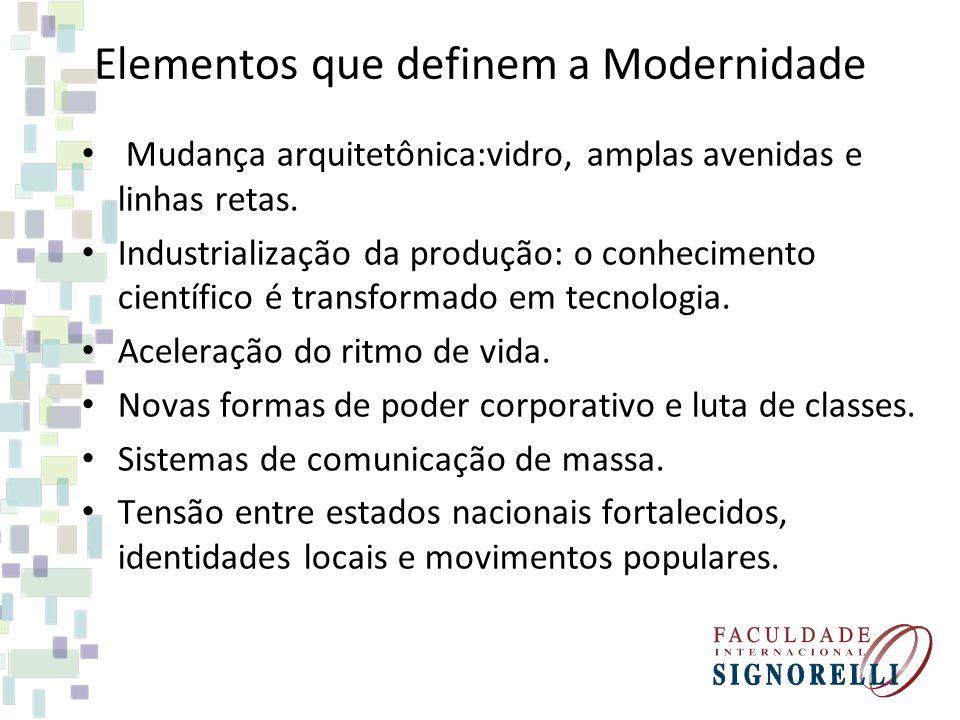 Elementos que definem a Modernidade Mudança arquitetônica:vidro, amplas avenidas e linhas retas. Industrialização da produção: o conhecimento científi