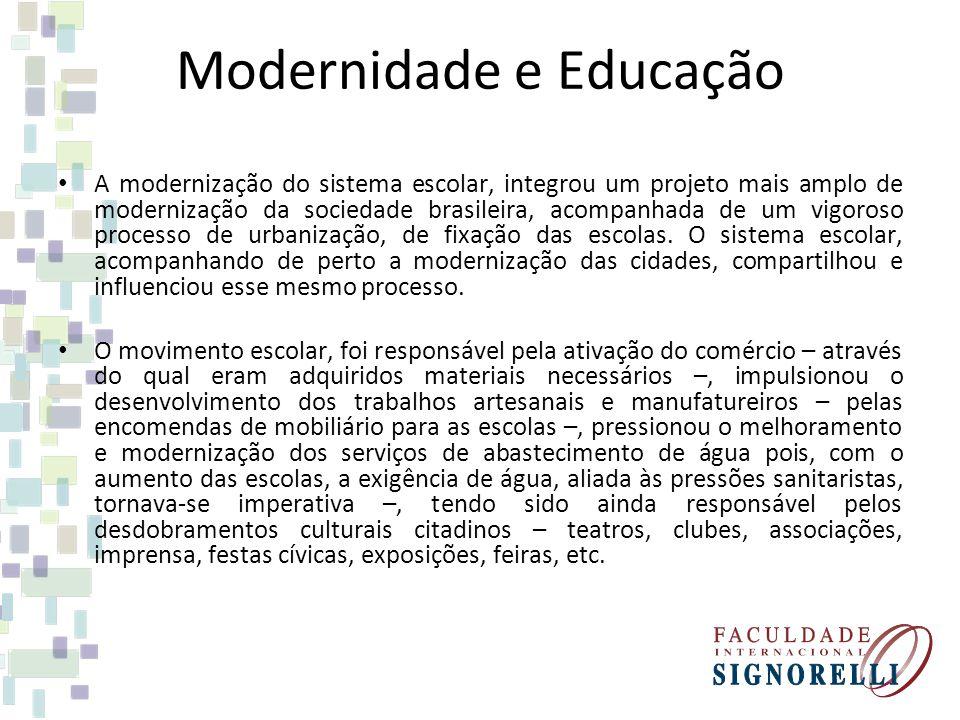 Modernidade e Educação A modernização do sistema escolar, integrou um projeto mais amplo de modernização da sociedade brasileira, acompanhada de um vi