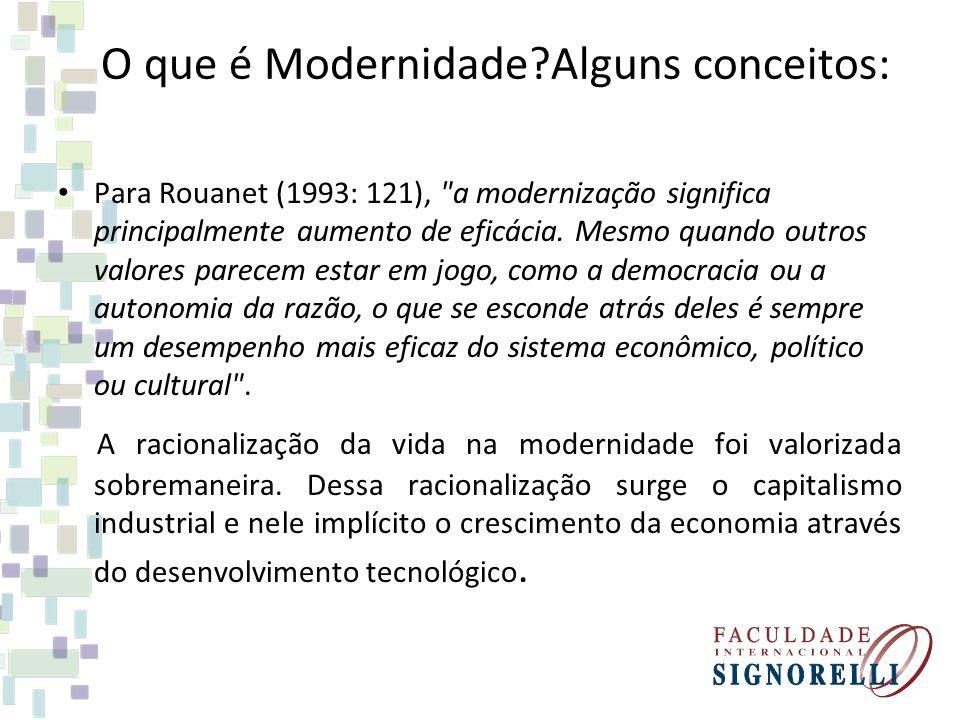 O que é Modernidade?Alguns conceitos: Para Rouanet (1993: 121),
