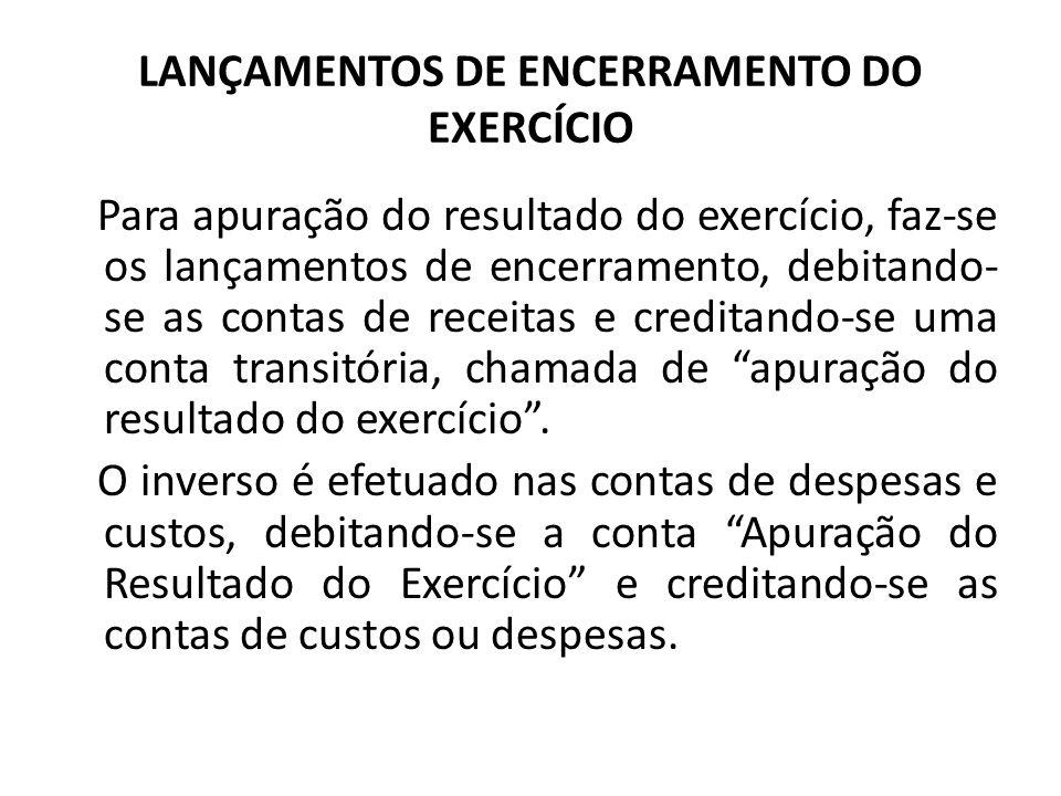 LANÇAMENTOS DE ENCERRAMENTO DO EXERCÍCIO Para apuração do resultado do exercício, faz-se os lançamentos de encerramento, debitando- se as contas de re