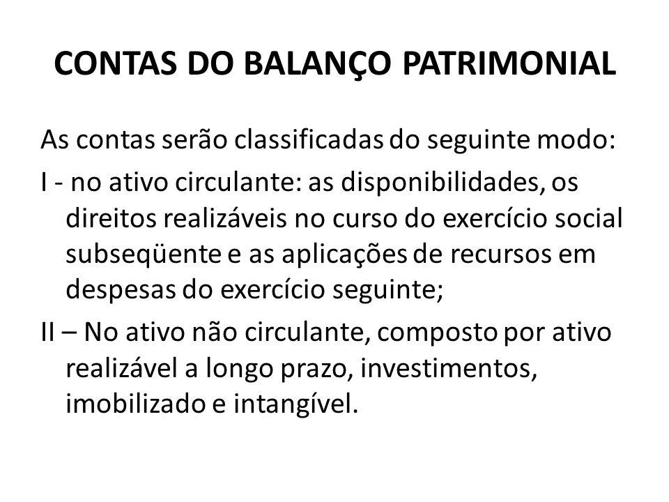 CONTAS DO BALANÇO PATRIMONIAL As contas serão classificadas do seguinte modo: I - no ativo circulante: as disponibilidades, os direitos realizáveis no