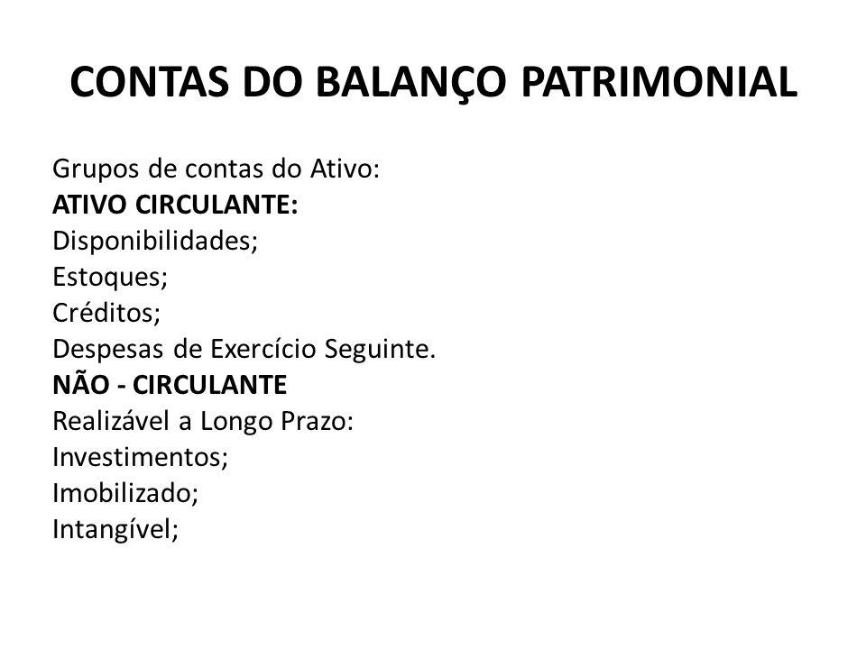 CONTAS DO BALANÇO PATRIMONIAL Grupos de contas do Ativo: ATIVO CIRCULANTE: Disponibilidades; Estoques; Créditos; Despesas de Exercício Seguinte. NÃO -