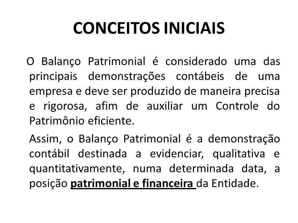 CONCEITOS INICIAIS O Balanço Patrimonial é considerado uma das principais demonstrações contábeis de uma empresa e deve ser produzido de maneira preci