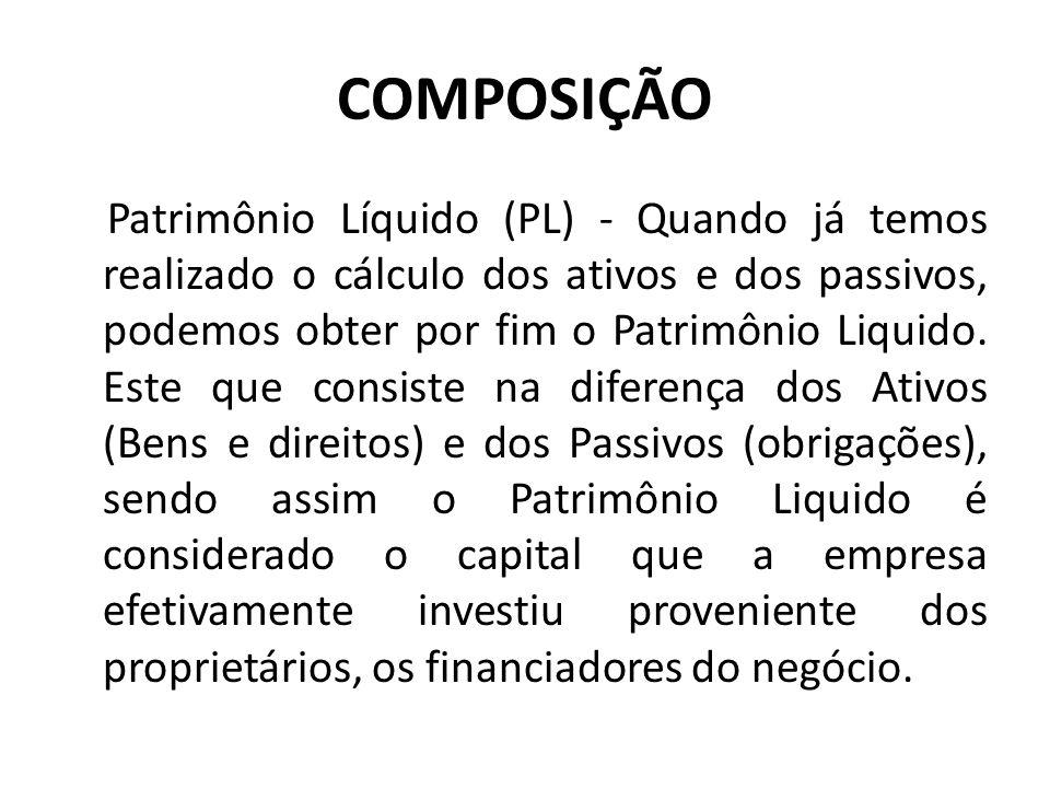 COMPOSIÇÃO Patrimônio Líquido (PL) - Quando já temos realizado o cálculo dos ativos e dos passivos, podemos obter por fim o Patrimônio Liquido. Este q