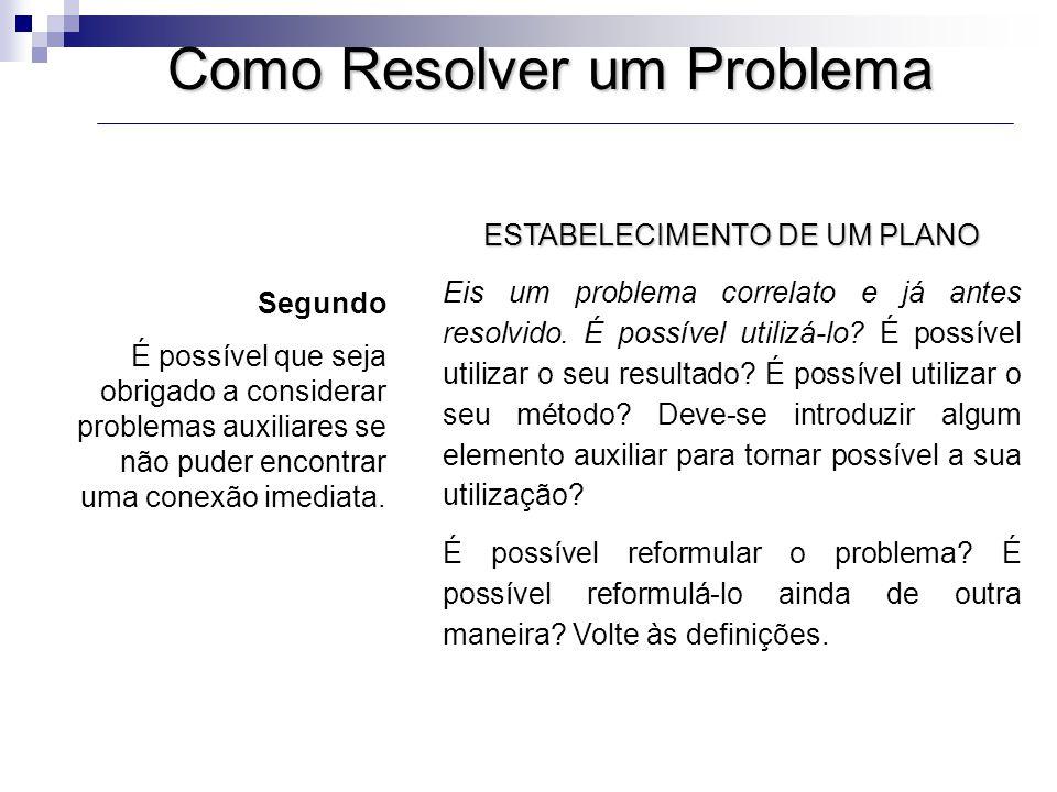 Como Resolver um Problema ESTABELECIMENTO DE UM PLANO Se não puder resolver o problema proposto, procure antes resolver algum problema correlato.