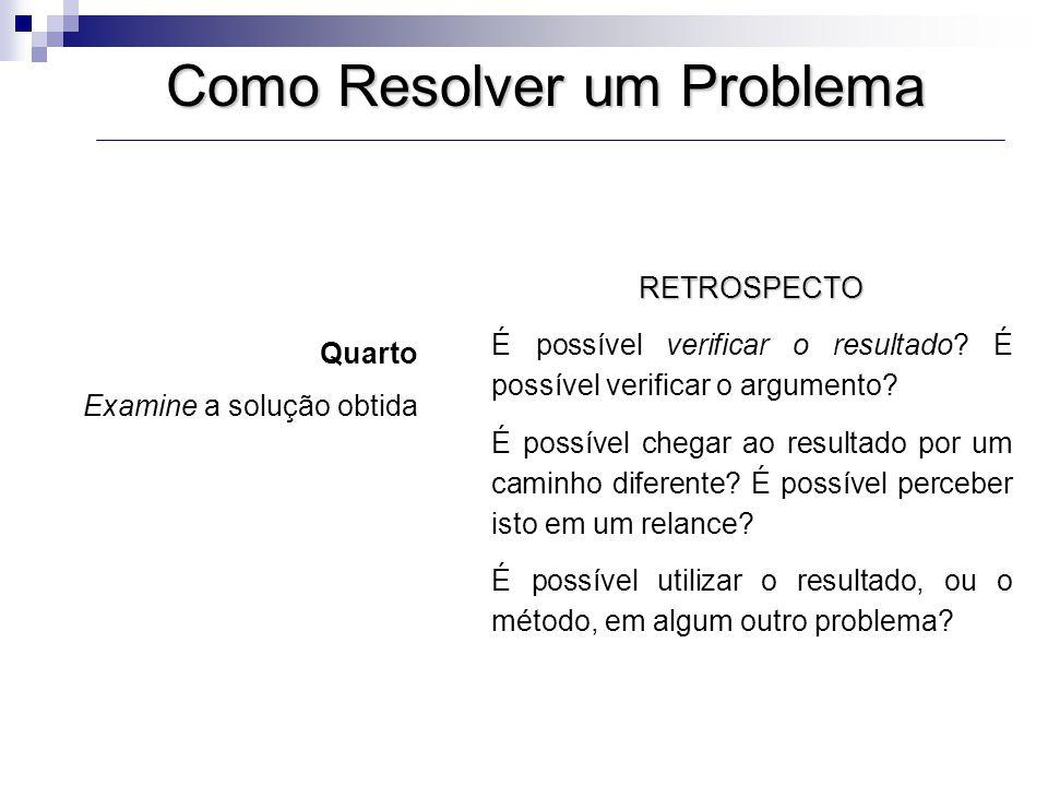 Como Resolver um Problema RETROSPECTO É possível verificar o resultado? É possível verificar o argumento? É possível chegar ao resultado por um caminh