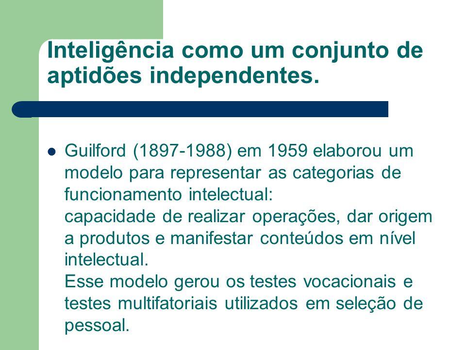 Inteligência como um conjunto de aptidões independentes. Guilford (1897-1988) em 1959 elaborou um modelo para representar as categorias de funcionamen