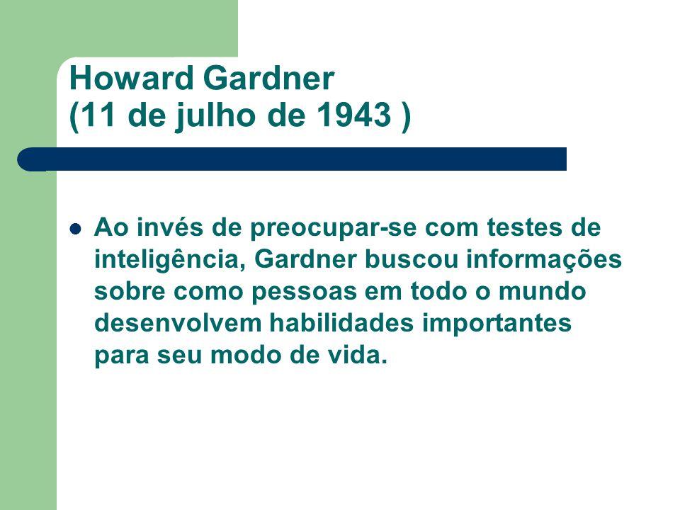 Ao invés de preocupar-se com testes de inteligência, Gardner buscou informações sobre como pessoas em todo o mundo desenvolvem habilidades importantes