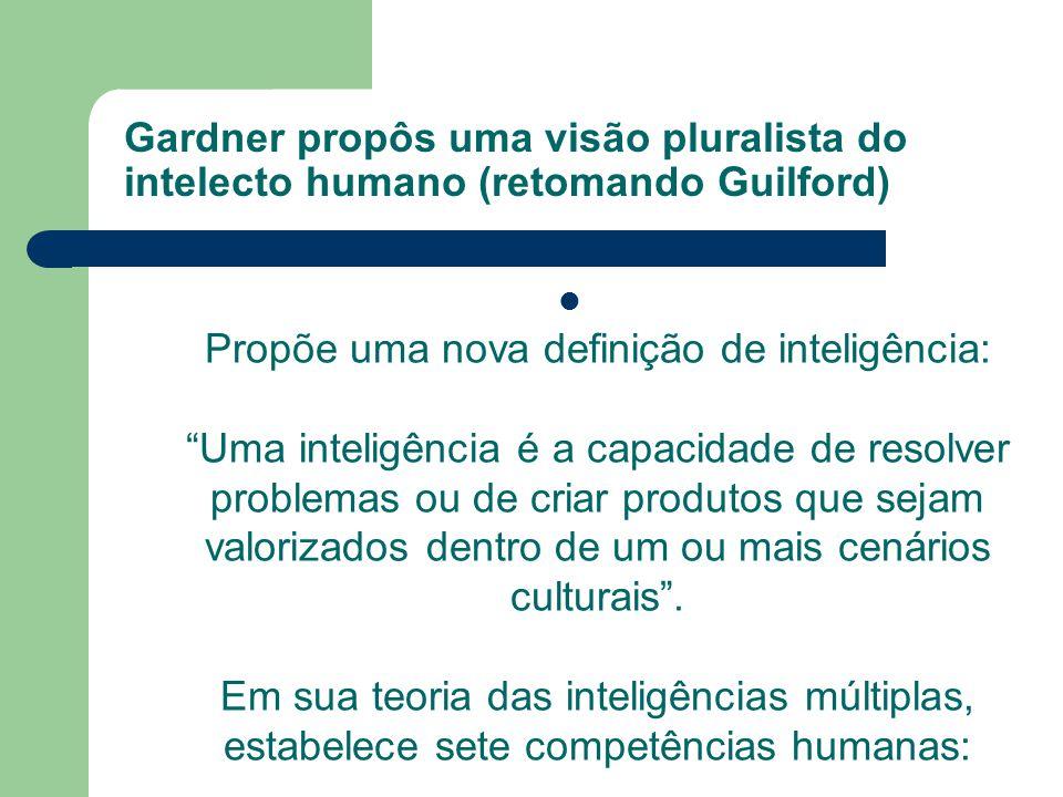 Gardner propôs uma visão pluralista do intelecto humano (retomando Guilford) Propõe uma nova definição de inteligência: Uma inteligência é a capacidad