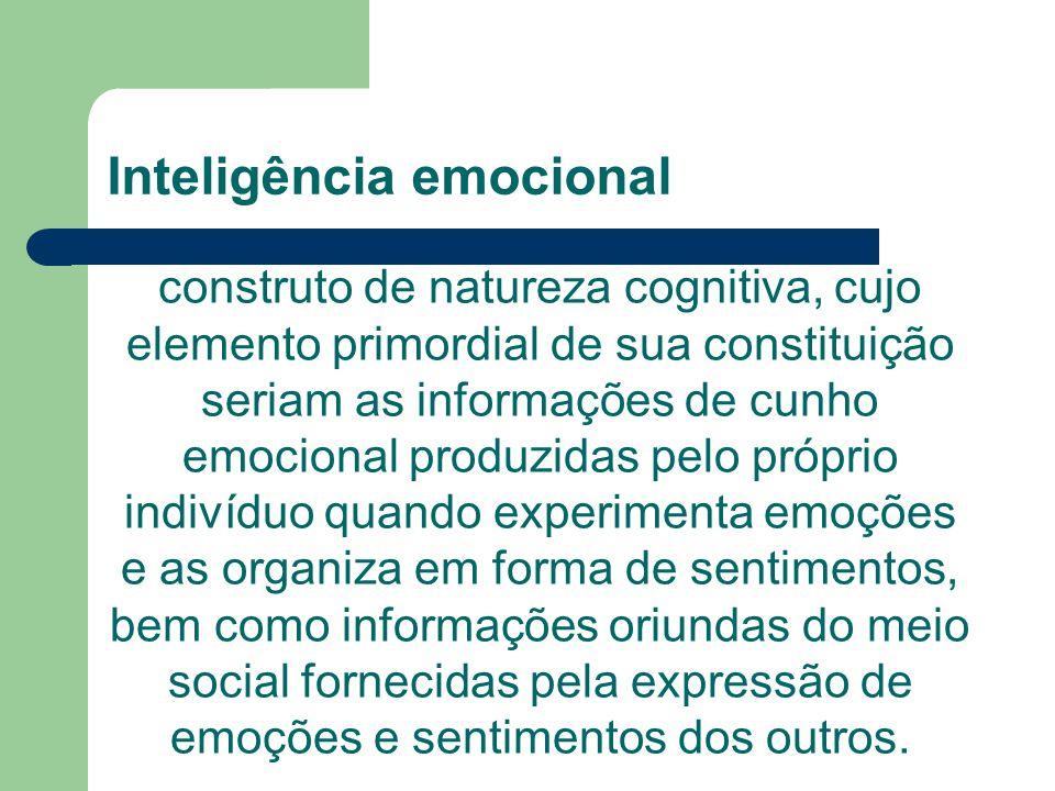 Inteligência emocional construto de natureza cognitiva, cujo elemento primordial de sua constituição seriam as informações de cunho emocional produzid