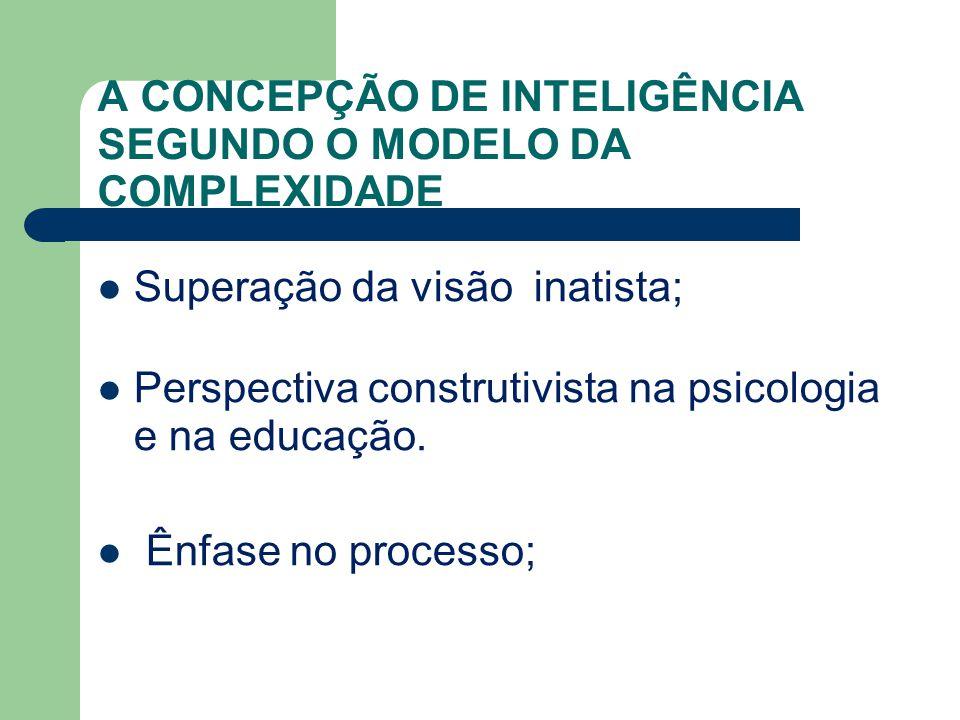 A CONCEPÇÃO DE INTELIGÊNCIA SEGUNDO O MODELO DA COMPLEXIDADE Superação da visão inatista; Perspectiva construtivista na psicologia e na educação. Ênfa