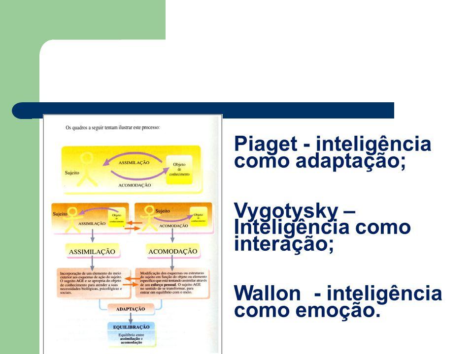 Piaget - inteligência como adaptação; Vygotysky – Inteligência como interação; Wallon - inteligência como emoção.