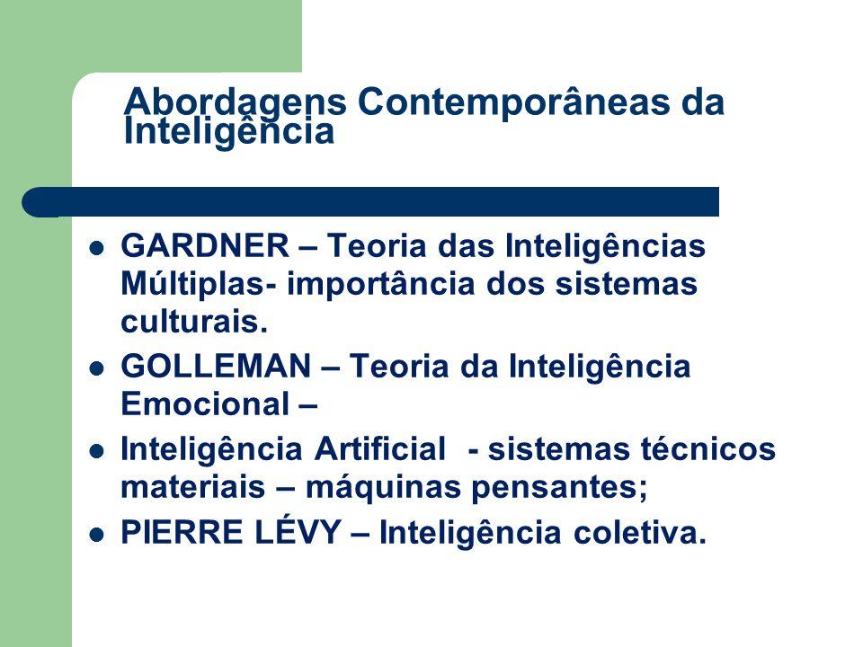GARDNER – Teoria das Inteligências Múltiplas- importância dos sistemas culturais. GOLLEMAN – Teoria da Inteligência Emocional – Inteligência Artificia