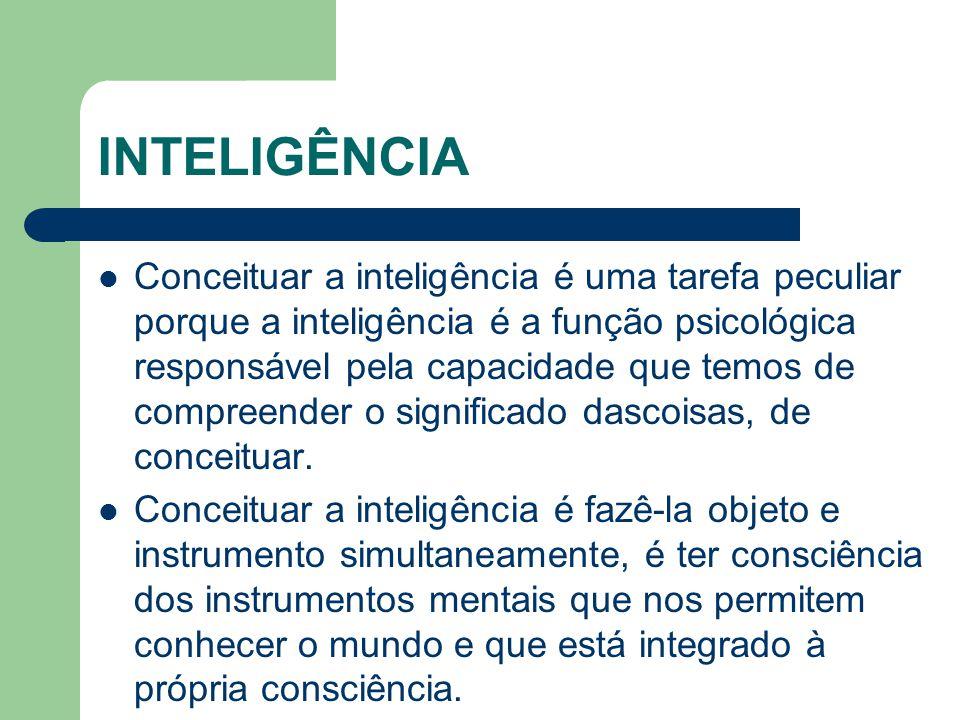 INTELIGÊNCIA Conceituar a inteligência é uma tarefa peculiar porque a inteligência é a função psicológica responsável pela capacidade que temos de com