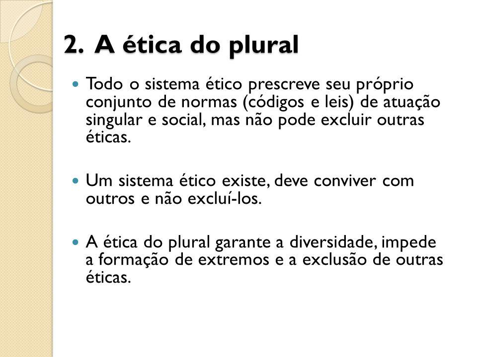 2. A ética do plural Todo o sistema ético prescreve seu próprio conjunto de normas (códigos e leis) de atuação singular e social, mas não pode excluir