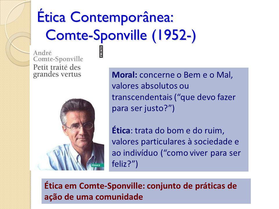 Ética Contemporânea: Comte-Sponville (1952-) Moral: concerne o Bem e o Mal, valores absolutos ou transcendentais (que devo fazer para ser justo?) Étic