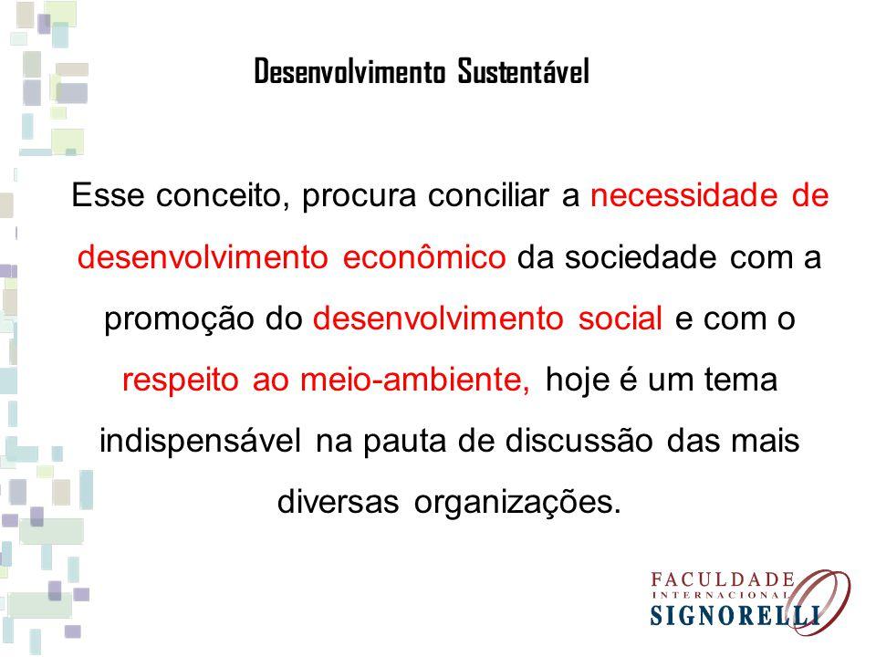 Esse conceito, procura conciliar a necessidade de desenvolvimento econômico da sociedade com a promoção do desenvolvimento social e com o respeito ao meio-ambiente, hoje é um tema indispensável na pauta de discussão das mais diversas organizações.