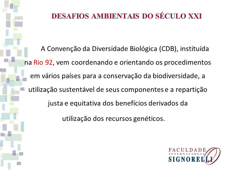 A Convenção da Diversidade Biológica (CDB), instituída na Rio 92, vem coordenando e orientando os procedimentos em vários países para a conservação da biodiversidade, a utilização sustentável de seus componentes e a repartição justa e equitativa dos benefícios derivados da utilização dos recursos genéticos.