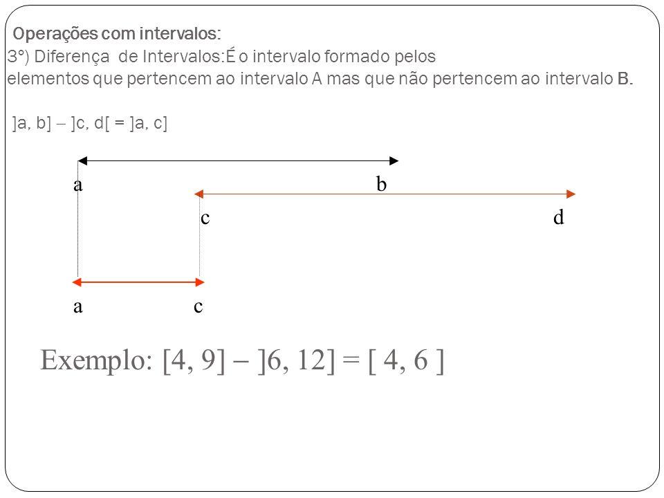Operações com intervalos: 2º) Intersecção de Intervalos: É o intervalo formado pelos elementos comuns aos dois intervalos. ]a, b[ ]c, d[ = ]c, b[ a b