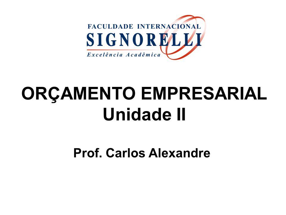 ORÇAMENTO EMPRESARIAL Unidade II Prof. Carlos Alexandre