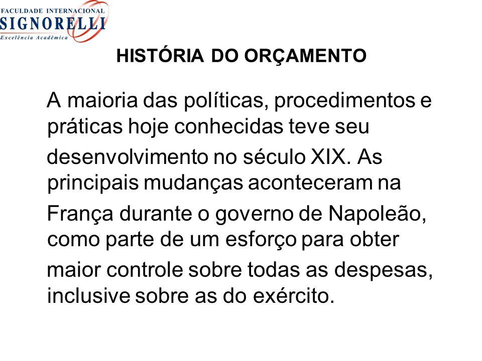 HISTÓRIA DO ORÇAMENTO A maioria das políticas, procedimentos e práticas hoje conhecidas teve seu desenvolvimento no século XIX.