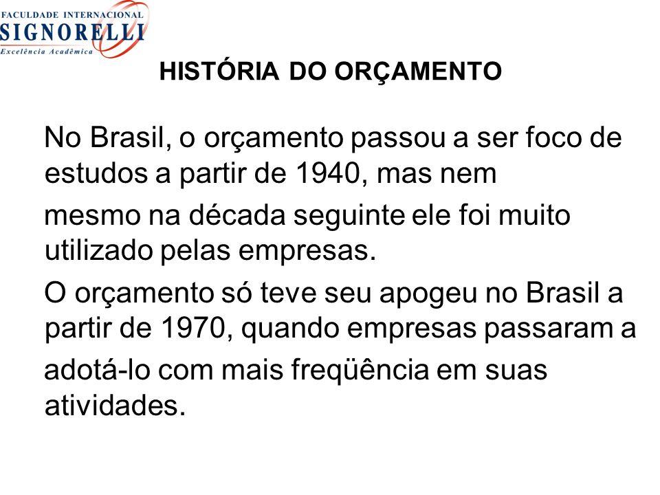 HISTÓRIA DO ORÇAMENTO No Brasil, o orçamento passou a ser foco de estudos a partir de 1940, mas nem mesmo na década seguinte ele foi muito utilizado pelas empresas.