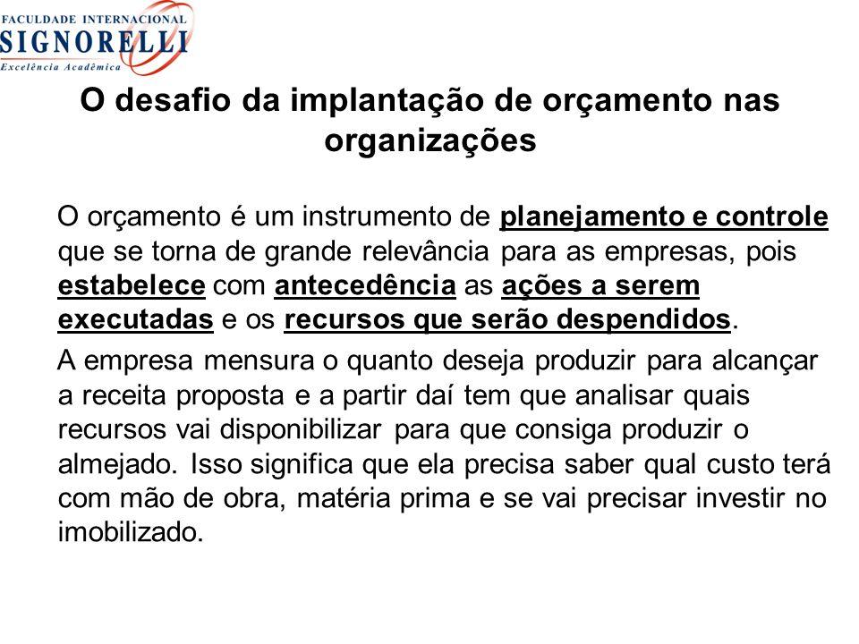 O desafio da implantação de orçamento nas organizações O orçamento é um instrumento de planejamento e controle que se torna de grande relevância para
