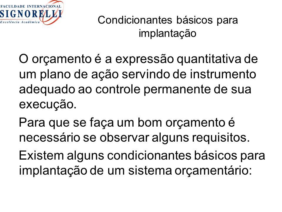 Condicionantes básicos para implantação O orçamento é a expressão quantitativa de um plano de ação servindo de instrumento adequado ao controle permanente de sua execução.