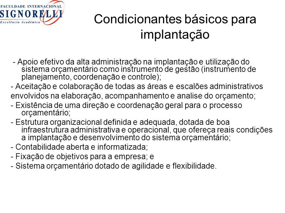 Condicionantes básicos para implantação - Apoio efetivo da alta administração na implantação e utilização do sistema orçamentário como instrumento de gestão (instrumento de planejamento, coordenação e controle); - Aceitação e colaboração de todas as áreas e escalões administrativos envolvidos na elaboração, acompanhamento e analise do orçamento; - Existência de uma direção e coordenação geral para o processo orçamentário; - Estrutura organizacional definida e adequada, dotada de boa infraestrutura administrativa e operacional, que ofereça reais condições a implantação e desenvolvimento do sistema orçamentário; - Contabilidade aberta e informatizada; - Fixação de objetivos para a empresa; e - Sistema orçamentário dotado de agilidade e flexibilidade.