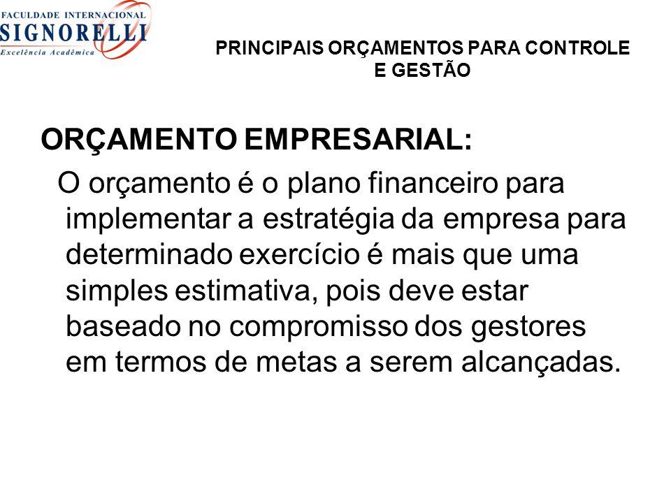 PRINCIPAIS ORÇAMENTOS PARA CONTROLE E GESTÃO ORÇAMENTO EMPRESARIAL: O orçamento é o plano financeiro para implementar a estratégia da empresa para det