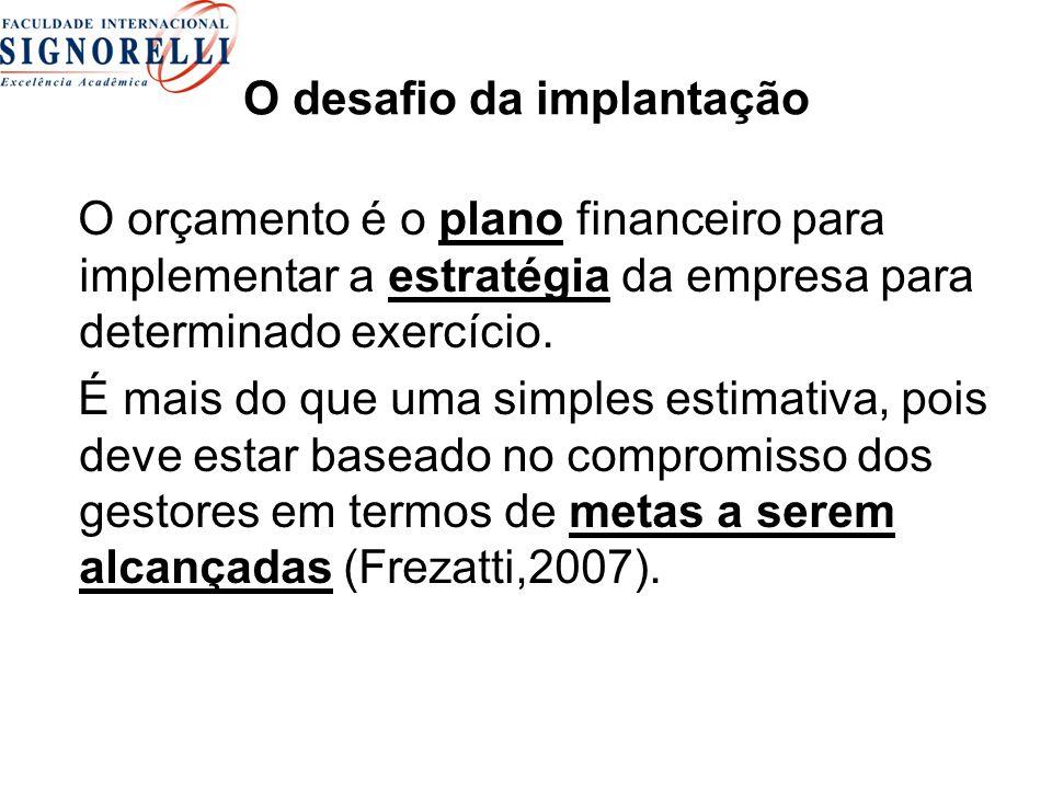 O desafio da implantação O orçamento é o plano financeiro para implementar a estratégia da empresa para determinado exercício. É mais do que uma simpl