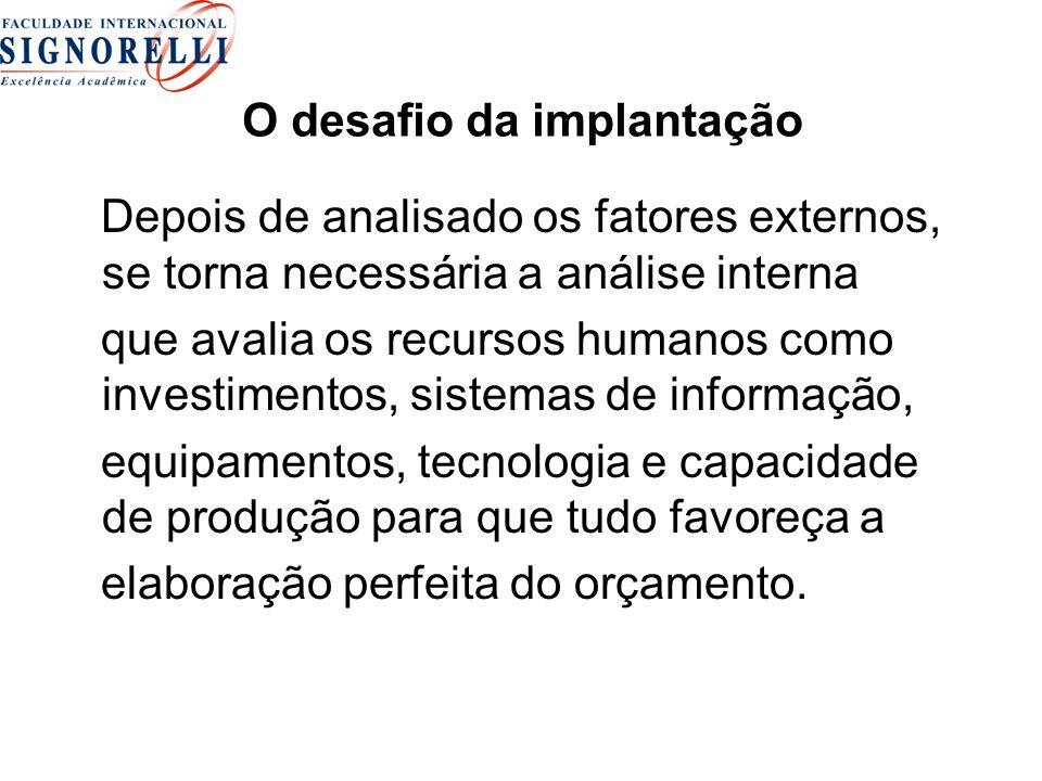 O desafio da implantação Depois de analisado os fatores externos, se torna necessária a análise interna que avalia os recursos humanos como investimen